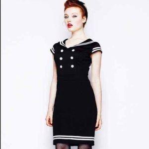 Hell bunny Vixen Sailor black sailor dress small